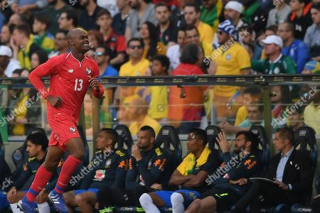Stock Picture of Panama player Adolfo Machado celebrates after scoring a goal against Brazil during their friendly soccer match held at Dragao stadium in Porto, Portugal, 23 March 2019.