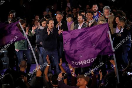 Podemos (We Can) party General Secretary Pablo Iglesias (C) applauds during a party's event in Madrid, Spain, 23 March 2019. The Spanish general election will be held on 28 April 2019.