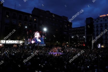 Podemos (We Can) party General Secretary Pablo Iglesias gives a speech during a party's event in Madrid, Spain, 23 March 2019. The Spanish general election will be held on 28 April 2019.