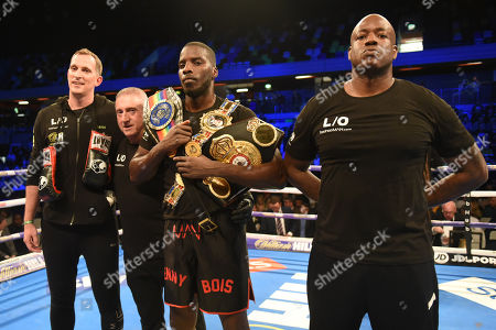 Lawrence Okolie (black shorts) defeats Wadi Camacho during a Boxing Show at the Copper Box Arena on 23rd March 2019