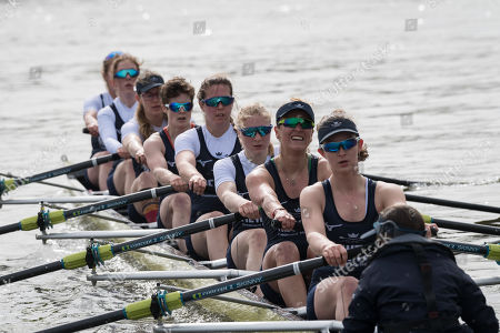 23 March 2019. Boat Race Fixture.  OUWBC vs Molesey BC., As preparation for the The Boat Races, Oxford and Cambridge clubs participate in a number of Fixtures against other clubs, rowing the same Tideway course as used for the Boat Race., OUWBC Crew List (Yellow hulled boat):-, Stroke: Amelia Standing, 7. Tina Christmann, 6. Beth Bridgman, 5. Liv Pryer, 4. Lizzie Polgreen, 3. Renée Koolschijn, 2. Anna Murgatroyd, Bow. Issy Dodds, Cox. Eleanor Shearer
