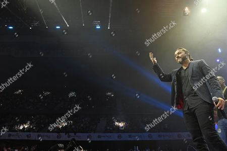 Stock Image of Argentinian singer Diego Torres performs on stage during the charity concert 'La Noche de Cadena 100' held at the Wizink Center pavilion in Madrid, Spain, 23 March 2019.