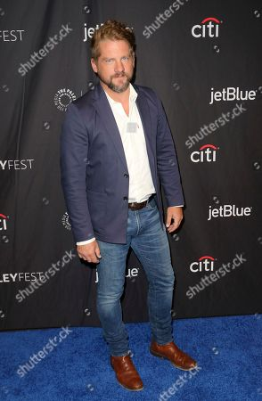 """Stock Image of Zachary Knighton, cast member of CBS's """"Magnum P.I."""" arrives at the 36th Annual PaleyFest at The Dolby Theatre, in Los Angeles"""