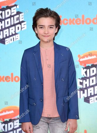 Elias Harger arrives at the Nickelodeon Kids' Choice Awards, at the Galen Center in Los Angeles