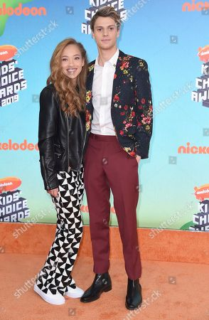 Shelby Simmons, Jace Norman. Shelby Simmons, left, and Jace Norman arrive at the Nickelodeon Kids' Choice Awards, at the Galen Center in Los Angeles