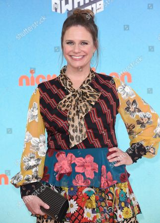 Andrea Barber arrives at the Nickelodeon Kids' Choice Awards, at the Galen Center in Los Angeles