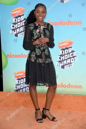 Saniyya Sidney arrives at the Nickelodeon Kids' Choice Awards, at the Galen Center in Los Angeles