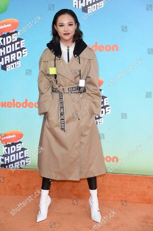 Breanna Yde arrives at the Nickelodeon Kids' Choice Awards, at the Galen Center in Los Angeles
