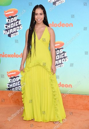 Asia Monet Ray arrives at the Nickelodeon Kids' Choice Awards, at the Galen Center in Los Angeles