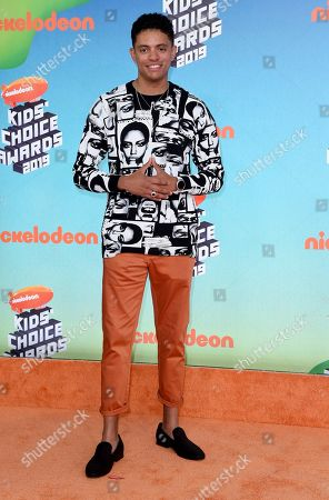 Stock Image of Brandon Broady arrives at the Nickelodeon Kids' Choice Awards, at the Galen Center in Los Angeles