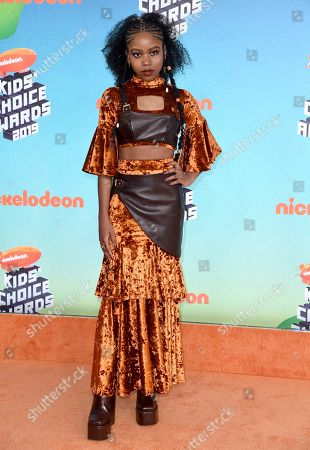 Riele Downs arrives at the Nickelodeon Kids' Choice Awards, at the Galen Center in Los Angeles