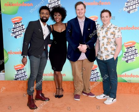 """Allan Washington, Christina Sajous, Danny Skinner, Ethan Slater. Allan Washington, from left, Christina Sajous, Danny Skinner and Ethan Slater, from the cast of """"SpongeBob SquarePants: The Musical,"""" arrive at the Nickelodeon Kids' Choice Awards, at the Galen Center in Los Angeles"""