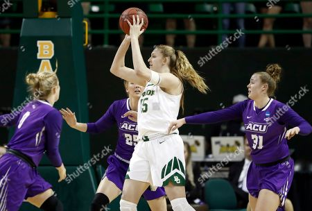 Lauren Cox, Kamryn Mraz, Lexi Kirgan, Madi Miller. Baylor forward Lauren Cox (15) looks to make a pass as Abilene Christian 's Kamryn Mraz (0), Lexi Kirgan (25) and Madi Miller (31) defend in the first half of a first-round game in the NCAA women's college basketball tournament in Waco, Texas