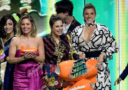 "Candace Cameron-Bure, Andrea Barber, Jodie Sweetin. Candace Cameron-Bure, from left, Andrea Barber and Jodie Sweetin, from the cast of ""Fuller House,"" accept the award for favorite funny TV show at the Nickelodeon Kids' Choice Awards, at the Galen Center in Los Angeles"