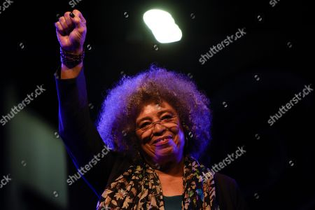 American political activist Angela Davis speaks during an open air rally in front of the University of the Republic in Montevideo, Uruguay, . Davis received an Honoris Causa Doctorate degree from the Uruguayan university