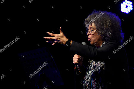 American political activist Angela Davis speaks during an open air rally in front of the University of the Republic in Montevideo, Uruguay,. Davis received an Honoris Causa Doctorate degree from the Uruguayan university