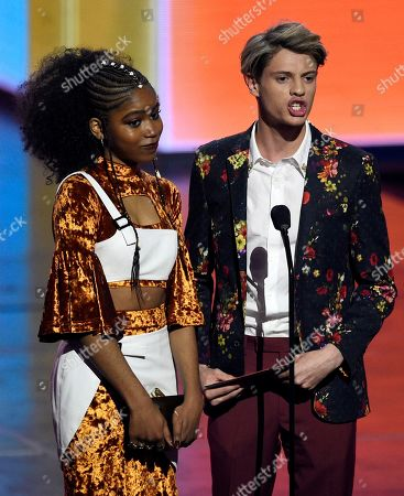 Riele Downs, Jace Norman. Riele Downs, left, and Jace Norman present the award for favorite female artist at the Nickelodeon Kids' Choice Awards, at the Galen Center in Los Angeles