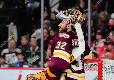 Minnesota-Duluth Bulldogs goaltender Hunter Shepard (32) during a break in play of the NCHC Frozen Faceoff championship between the Minnesota Duluth Bulldogs and the St. Cloud State Huskies at the Xcel Energy Center, St. Paul, MN. Duluth defeated St. Cloud State 3-2 in double overtime