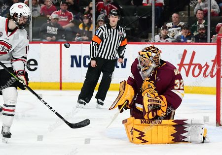 Minnesota-Duluth Bulldogs goaltender Hunter Shepard (32) eyes and incoming puck during the NCHC Frozen Faceoff championship between the Minnesota Duluth Bulldogs and the St. Cloud State Huskies at the Xcel Energy Center, St. Paul, MN