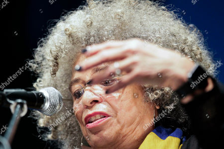 American political activist Angela Davis gives a lecture at the Teatro Solis in Montevideo, Uruguay
