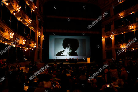 People enter the Solis Theatre to hear a lecture from the American political activist Angela Davis in Montevideo, Uruguay