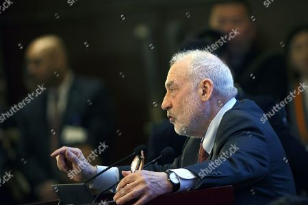 Columbia University Professor Joseph Stiglitz speaks during the China Development Forum in Beijing, China, 24 March 2019.
