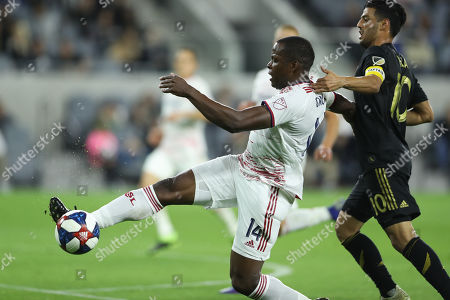 Real Salt Lake defender Nedum Onuoha (14) steal the pass attempt to Los Angeles FC forward Carlos Vela (10) in the second half during the game between Real Salt Lake and Los Angeles FC at Banc of California Stadium in Los Angeles, CA., USA. (Photo by Peter Joneleit)