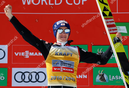 Austria's Stefan Kraft celebrates after the individual competition at the Ski Jumping World Cup event in Planica, Slovenia