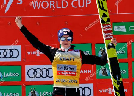 Stock Photo of Stefan Kraft of Austria celebrates his second place in the Ski Jumping Men's World Cup's Standings in Planica,Slovenia 24 March 2019.