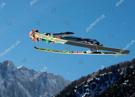 Stefan Kraft of Austria soars through the air during the World Cup's Ski Flying Hill Individual Final HS 240 in Planica, Slovenia, 24 March 2019.