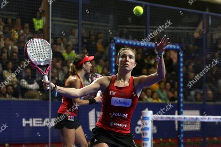 Spanish paddle tennis players Marta Ortega (C) and Marta Marrero (L) face Spanish players Ariana Sanchez and Alejandra Salazar during the World Padel Tour's Marbella Master tournament men's final game in San Pedro de Alcantara, Andalusia, southern Spain, 23 March 2019.
