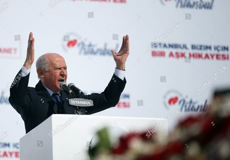 Devlet Bahceli, leader of MHP speaks during Turkey's ruling Justice and Development Party (AK Party) and Nationalist Movement Party (MHP) local election campaign rally in Istanbul, Turkey, 24 March 2019. Local elections in Turkey's capital and the country's overall 81 provinces are scheduled for 31 March 2019.