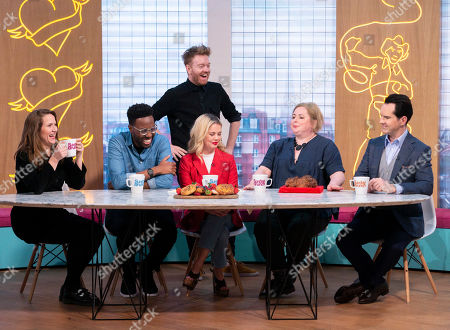 Jessica Hynes, Daniel Lawrence Taylor, Kevin with Soda Bread, Saoirse-Monica Jackson, Siobhan McSweeney and Jimmy Carr