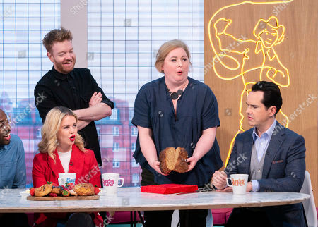 Jimmy Carr, Saoirse-Monica Jackson and Siobhan McSweeney with Kevin and Soda Bread