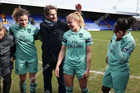 Arsenal ladies manager Joe Montemurro and Jessica Samuelsson of Arsenal ladies at the end of the game