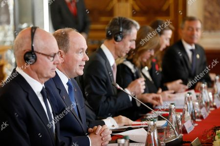 Prince Albert II of Monaco (2-L) during a meeting with Chinese President Xi Jinping at the Royal Palace, Monaco, 24 March 2019. This is the first official visit of Chinese President to Monaco.