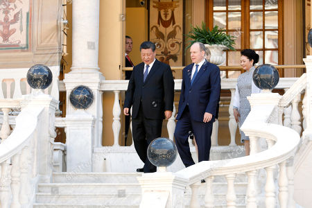 Prince Albert II of Monaco (R) and Chinese President Xi Jinping (L) at the Royal Palace after their meeting in Monaco, 24 March 2019. Chinese President is in Monaco for a one day state visit.