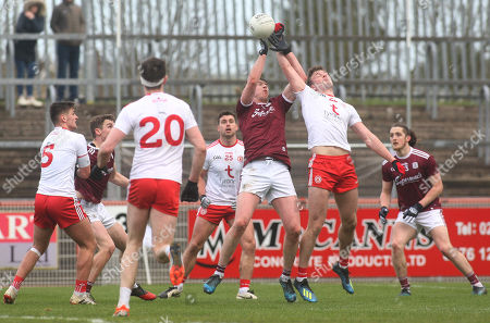 Tyrone vs Galway. Galway's Thomas Finn and Tyrone's Brian Kennedy