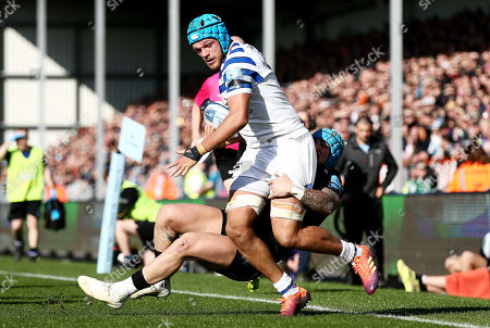 Zach Mercer of Bath is tackled by Jack Nowell of Exeter Chiefs.