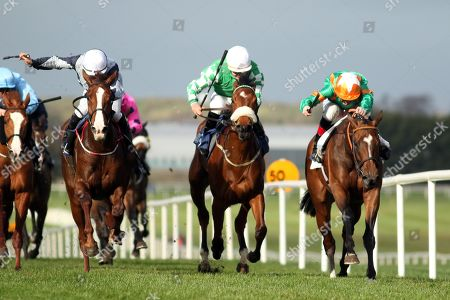Stock Picture of The Lodge Park Stud Irish EBF Park Express Stakes. Kevin Manning onboard Normandel (far right) comes home to win