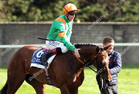 Stock Image of The Lodge Park Stud Irish EBF Park Express Stakes. Kevin Manning onboard Normandel after winning