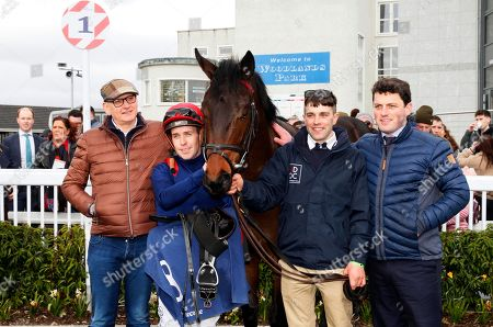 The Irish Stallion Farms EBF Maiden. John Fleming, jockey Leigh Roche, and trainer Michael O'Callaghan after winning with Red Epaulette