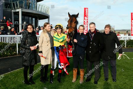 Stock Photo of The Tote Irish Lincolnshire. Jockey Colin Keane and the winning connections after winning with Karayaan