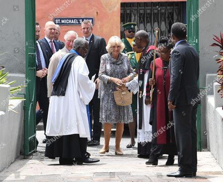 Prince Charles and Camilla Duchess of Cornwall attend the Cathedral church of St Michael and All Angels in Bridgetown