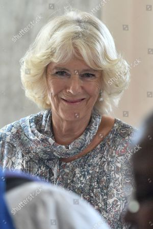 Camilla Duchess of Cornwall attends the Cathedral church of St Michael and All Angels in Bridgetown