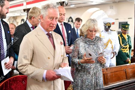 Stock Image of Prince Charles and Camilla Duchess of Cornwall attend the Cathedral church of St Michael and All Angels in Bridgetown