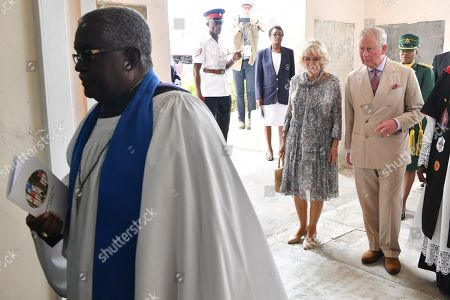Stock Photo of Prince Charles and Camilla Duchess of Cornwall attend the Cathedral church of St Michael and All Angels in Bridgetown