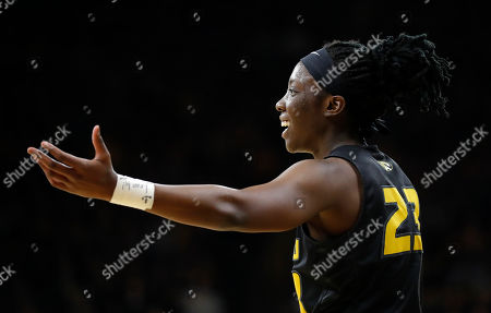 Missouri guard Amber Smith reacts after being called for a foul during a second-round game against Missouri in the NCAA women's college basketball tournament, in Iowa City, Iowa. Iowa won 68-52