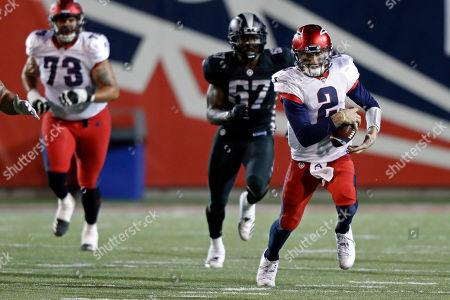 Memphis Express quarterback Johnny Manziel (2) runs for yardage during a Birmingham Iron at Memphis Express AAF football game, at Liberty Bowl Memorial Stadium in Memphis, Tenn