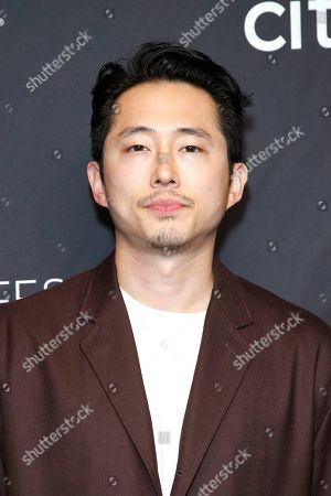 Stock Photo of Korean-American actor Steven Yeun arrives for The Paley Center for Media's PaleyFest LA 2019 presentation for the television show 'The Twilight Zone' at the Dolby Theatre in Los Angeles, California, USA, 24 March 2019.